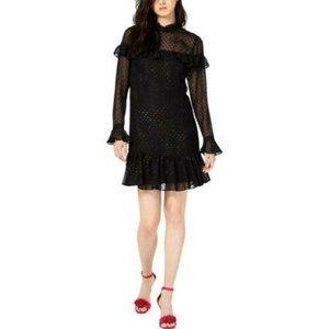 Betsey Johnson Womens Glitter Ruffled Mini Dress